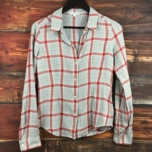 James Perse fitted plaid long sleeve button up